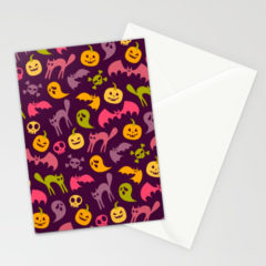 Neon Halloween Stationary Card by Society6