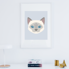 Cat vector portrait in frame