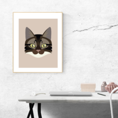 Cat vector portrait on card