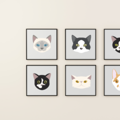 Cat vector portraits in frames
