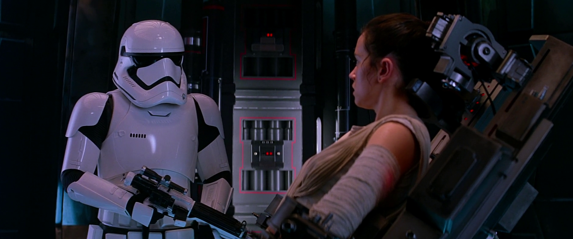 Rey on Starkiller Base in Star Wars: The Force Awakens