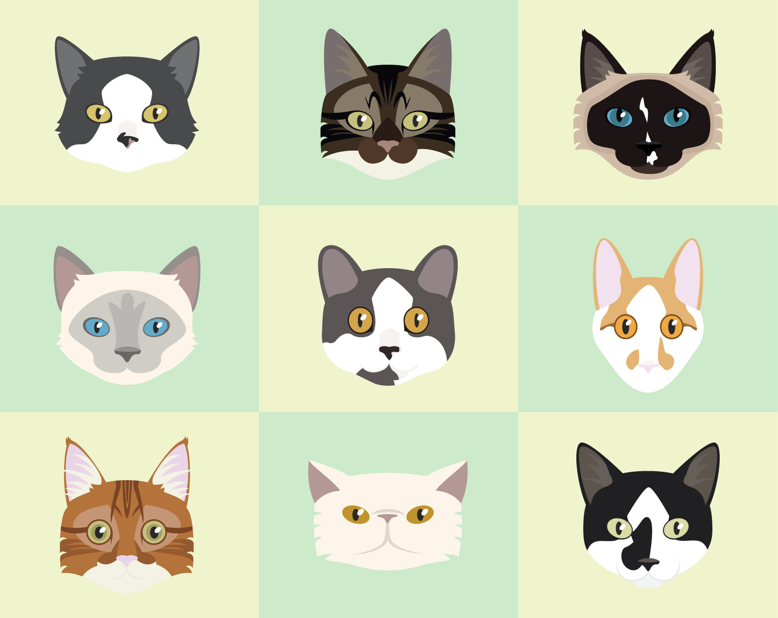 Cat Vector Pet Portraits