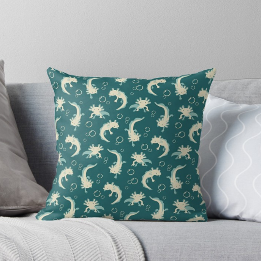Relaxolotl teal throw pillow