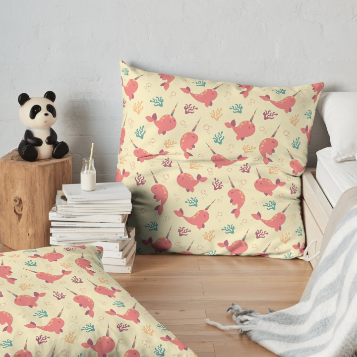 To the Window to the Narwhal floor pillow from Redbubble