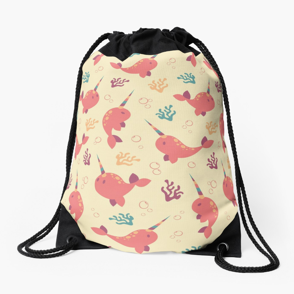 To the Window to the Narwhal drawstring bag from Redbubble