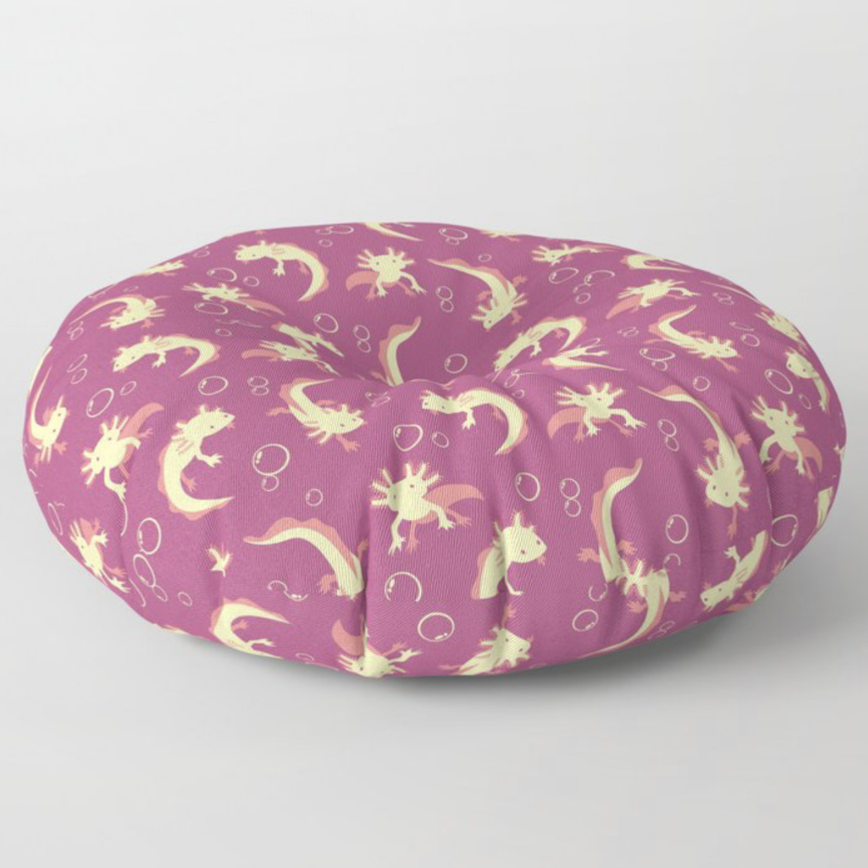 Relaxolotl rose floor pillow from Society6