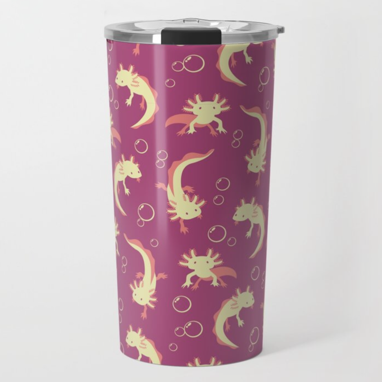 Relaxolotl rose thermos from Society6