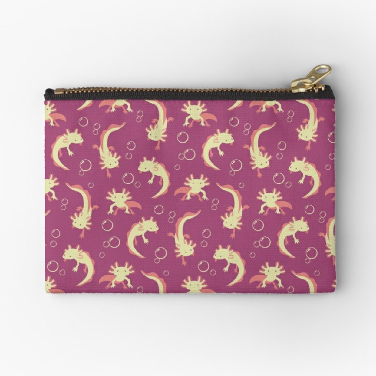Relaxolotl rose pouch from Redbubble