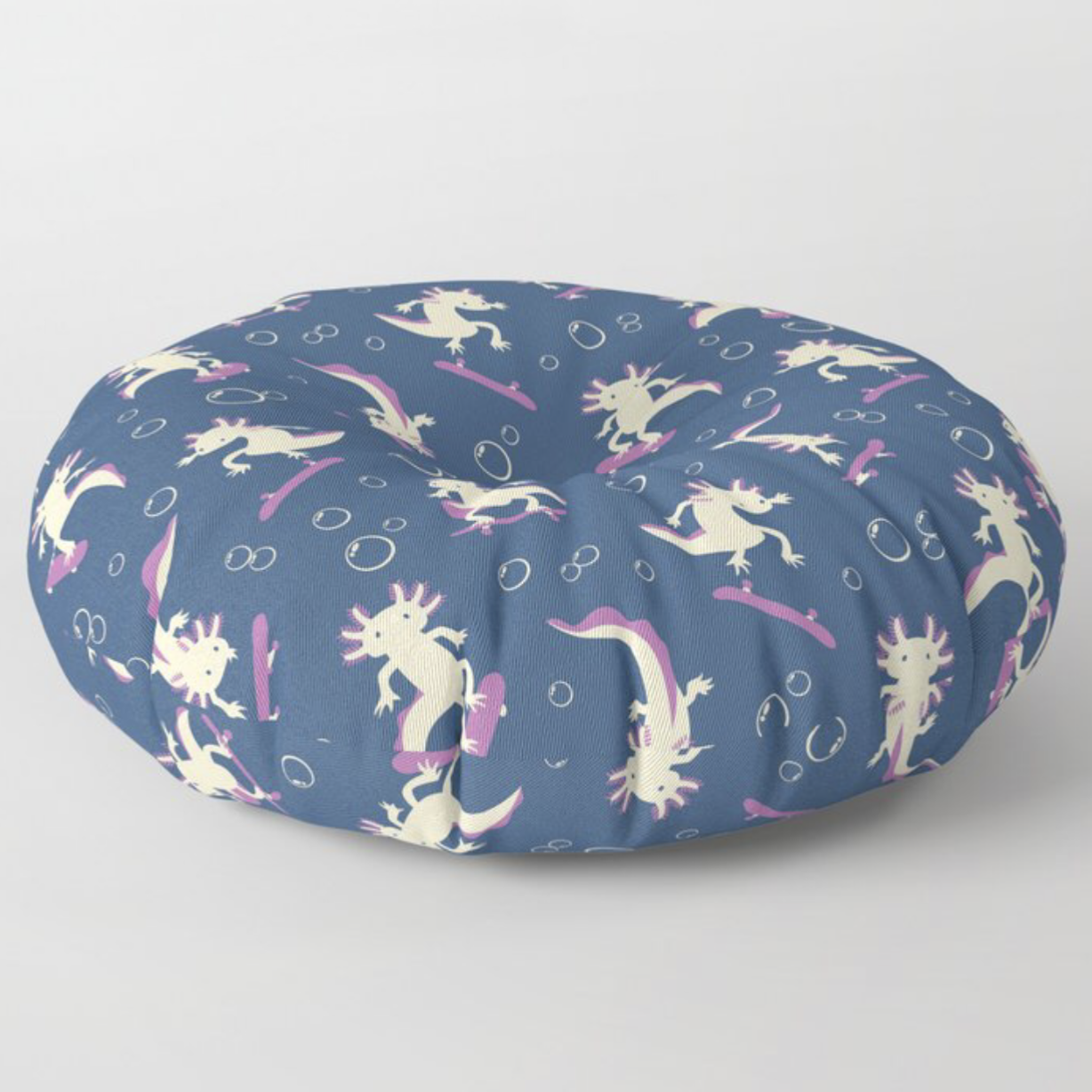 To the Maxalotl floor pillow from Society6
