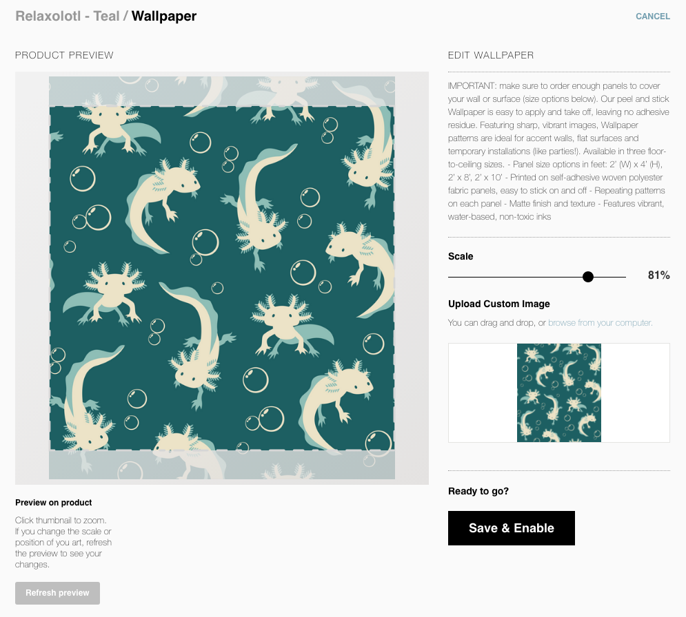 Screen shot of a rectangular pattern tile not fitting the Society6 wallpaper default