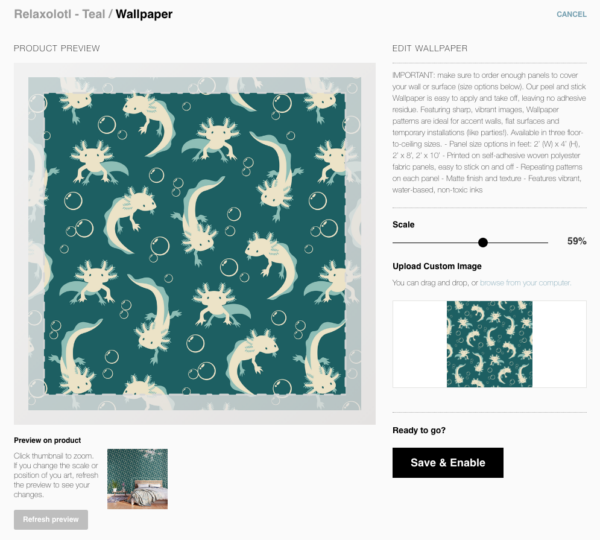 Society6 art upload tool auto-zooming my pattern