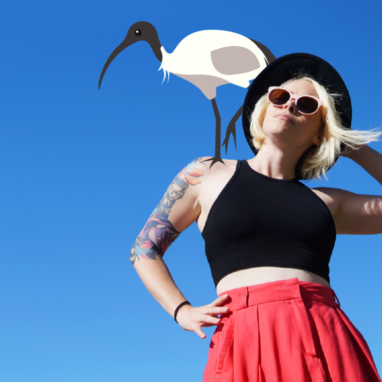 Stacey Lehane and an ibis bro