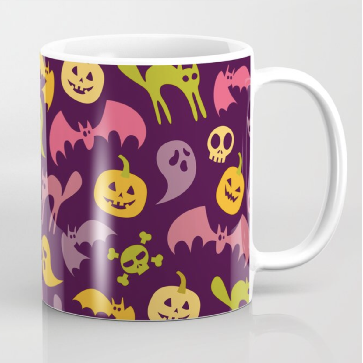 Neon Halloween Pattern - Purple Background mug