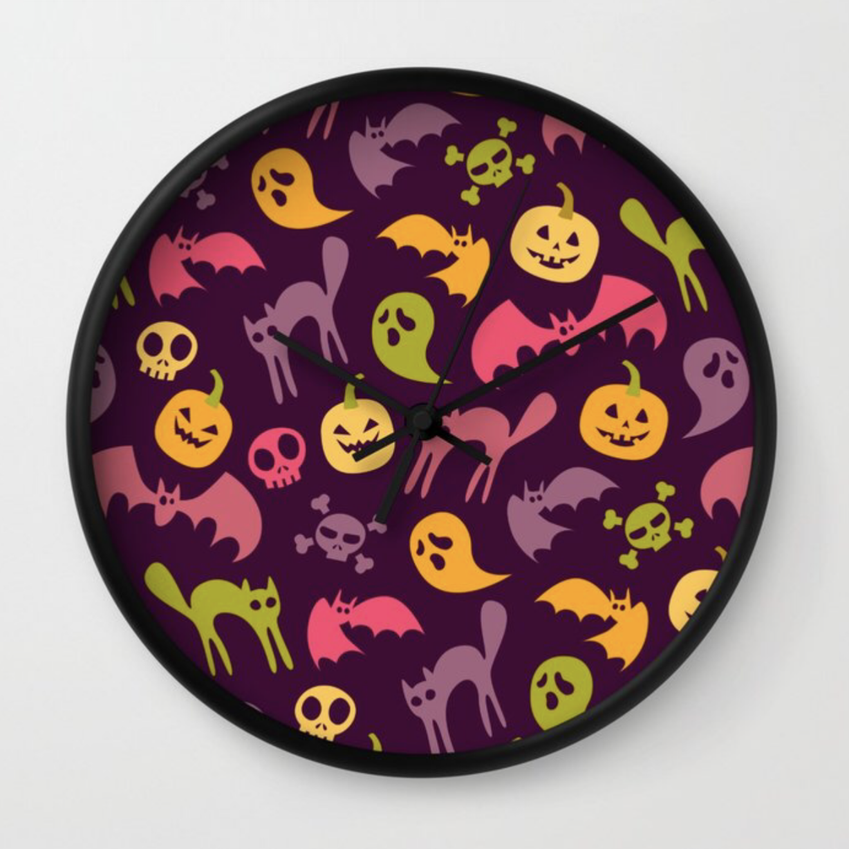 Neon Halloween Pattern - Purple Background clock