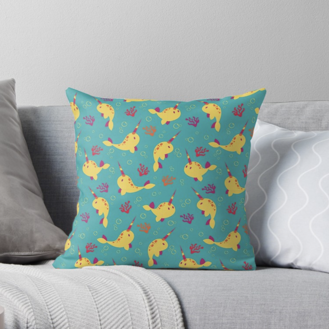 To the Window to the Narwhal throw pillow from Redbubble