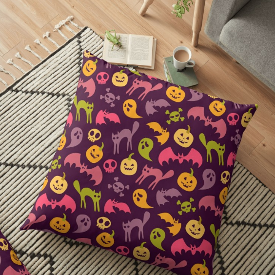 Neon Halloween Pattern - Purple Background floor pillow