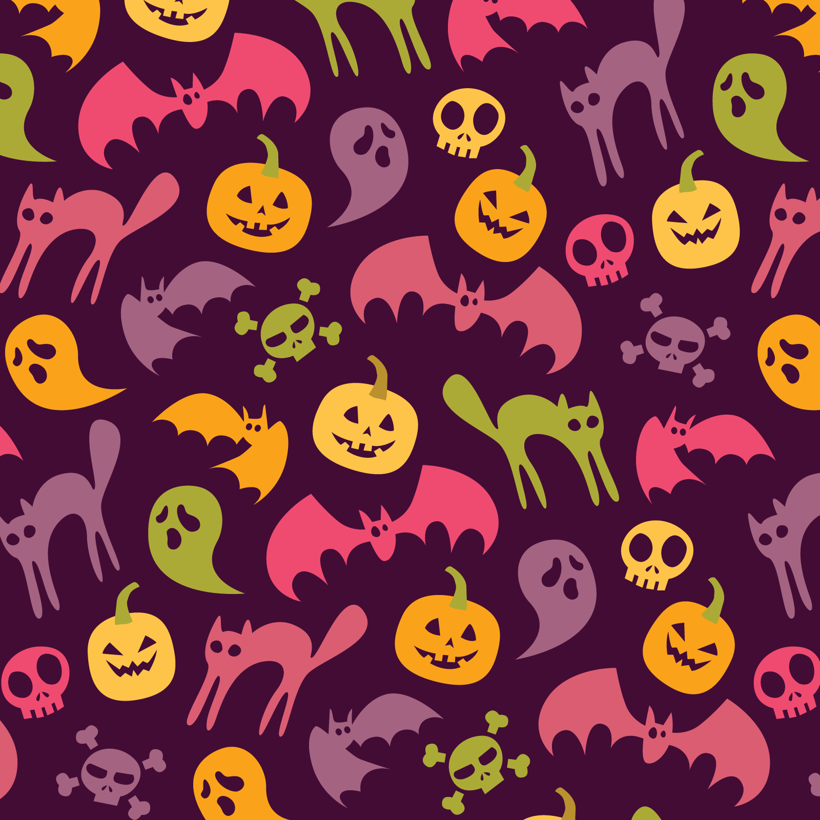 Neon halloween pattern - purple variation