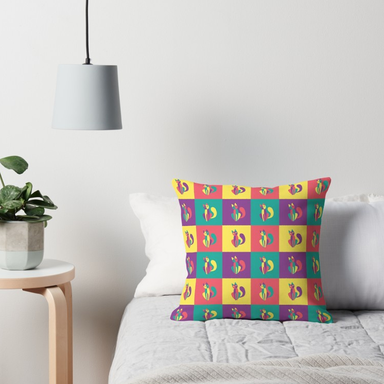 Pop goes the kitten throw pillow from Redbubble