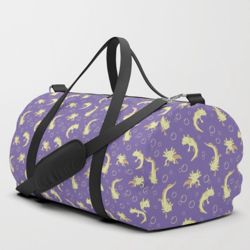 Relaxolotl lilac dufflebag from Society6