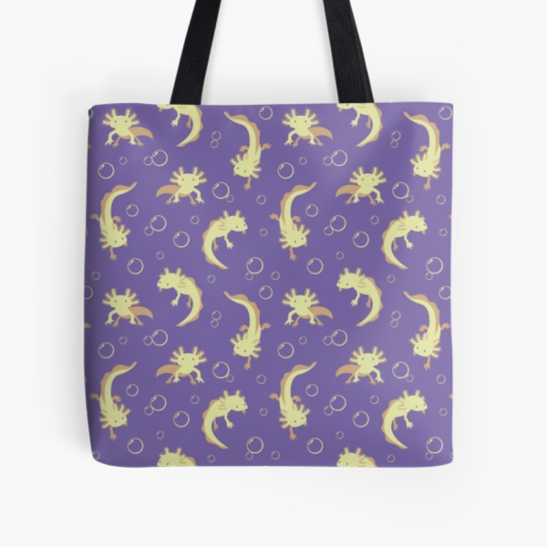 Relaxolotl lilac tote from Redbubble