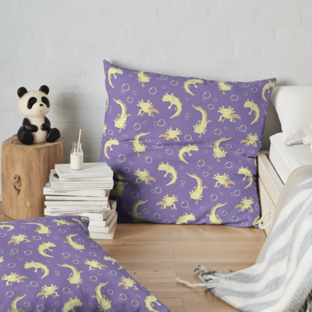 Relaxolotl lilac floor pillows from Redbubble