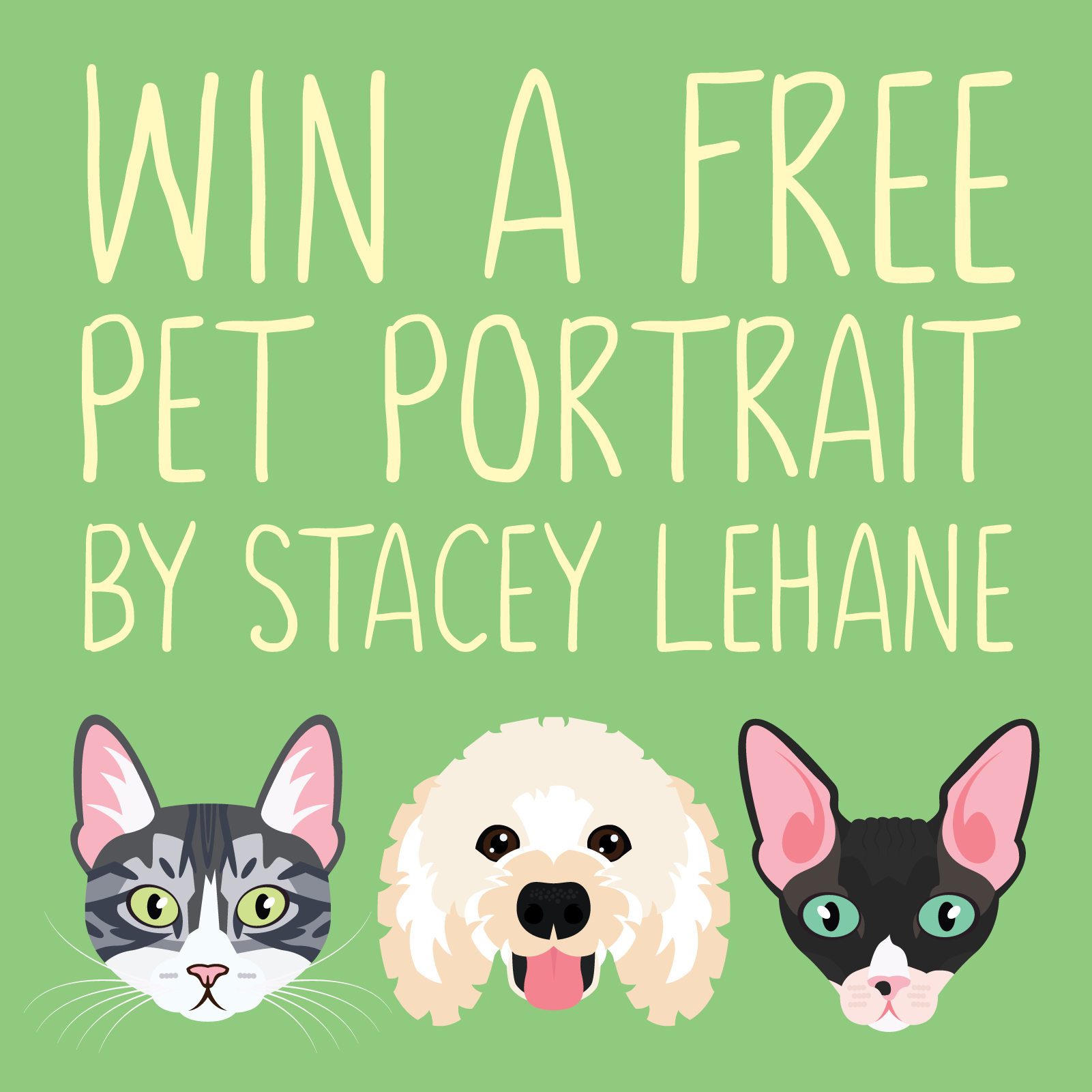 Win a free pet portrait by Stacey Lehane